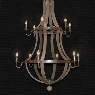12 Arm Wine barrel Chandelier