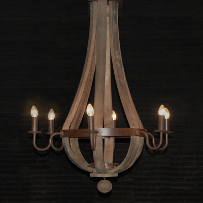 6 Arm Wine Barrel Chandelier